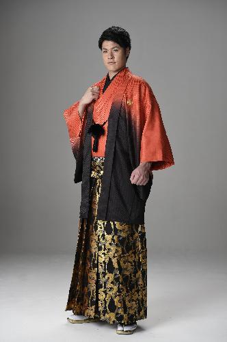 男性羽織 袴セットレンタル[オレンジグラデーション〕【020】