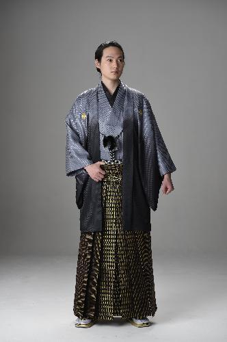 [男性羽織袴レンタルセット〔グレーグラデーション〕【017】